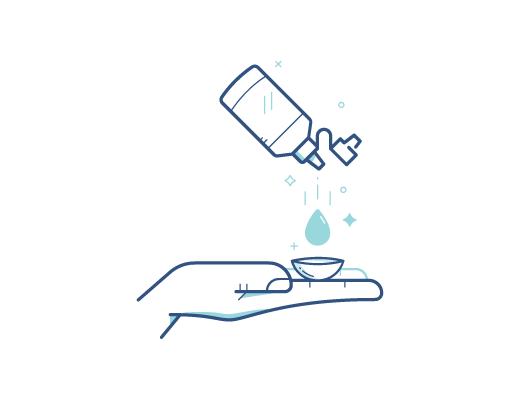 Désinfection de la lentille de contact avec une solution désinfectante de lentilles de contact.