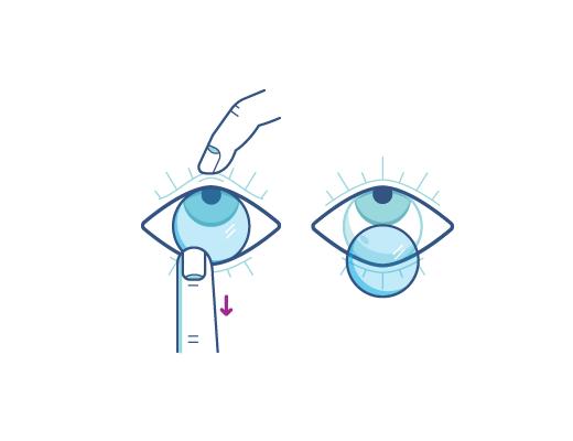 Retirez vos lentilles en utilisant votre index pour abaisser le bord de la lentille.