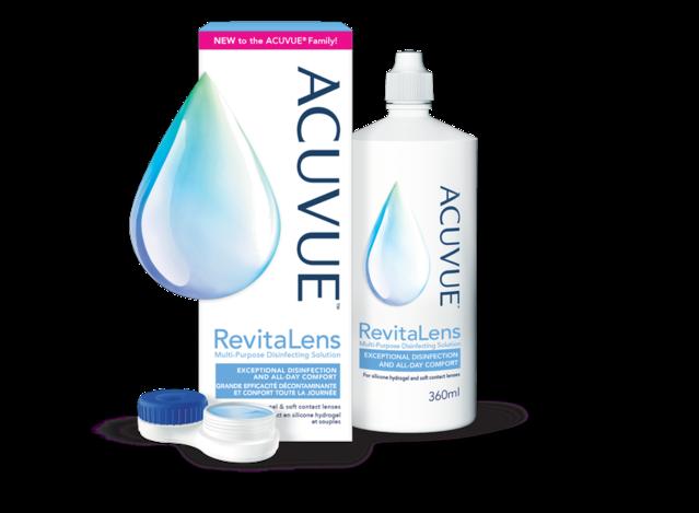 ACUVUE® RevitaLens : emballage, flacon et étui pour les lentilles